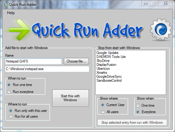 Quick Run Adder main window
