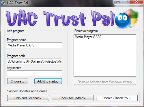 UAC Trust Pal main window
