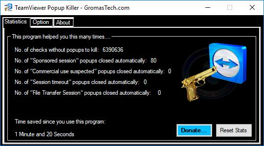 TeamViewer Popup Killer main window dark