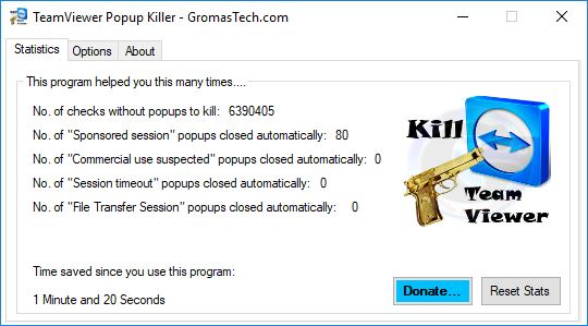 TeamViewer Popup Killer main window